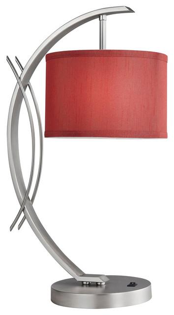 Eclipse Drum Shade Table Lamp, Maroon, Satin Nickel.