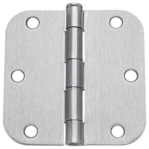 "Satin Nickel Door Hinge 4/"" with 5//8/"" and straight corner radius 4 inch"