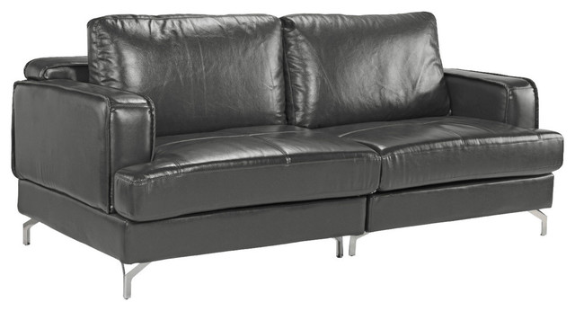 Modern Living Room Leather Sofa Chrome Finished Legs