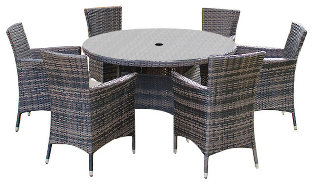 f82a9d99a2f6 Rattan Garden Furniture Amelia 6-Seat 1.3 m Round Outdoor Dining Set -  Contemporary - Outdoor Dining Sets - by White Stores