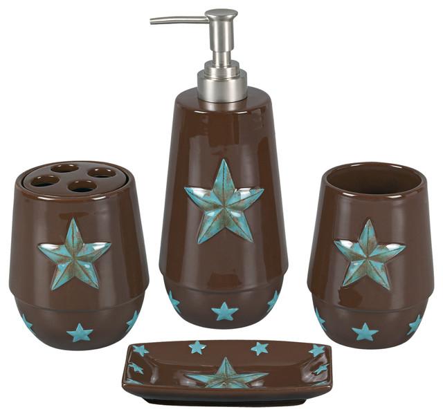 Piece Turquoise Star Bathroom Set Traditional Bathroom