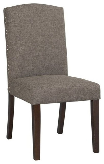Boraam Champagne Parsons Upholstery Dining Chairs, Set Of 2, Steel, Gray