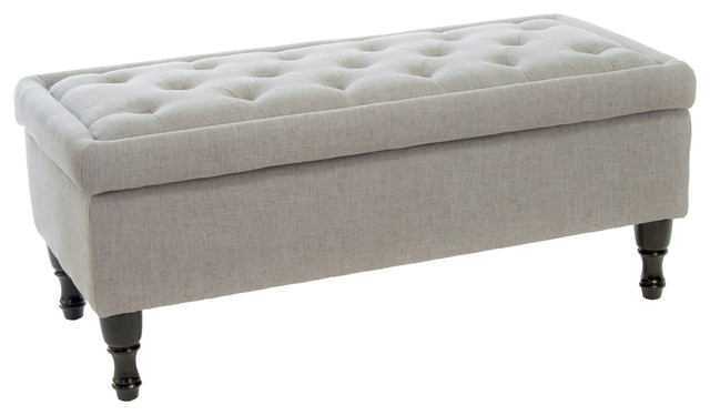 Logan Fabric Storage Ottoman Gray Contemporary Footstools And