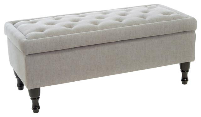 Beau Logan Storage Ottoman, Gray Fabric