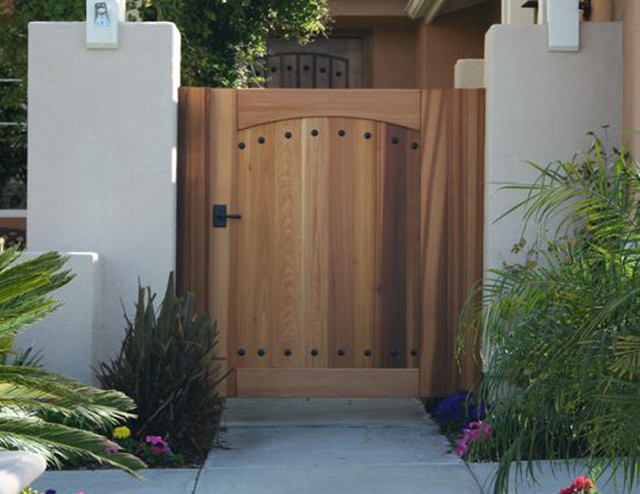 Flattop Wooden Gate With Clavos And Cathedral Arch