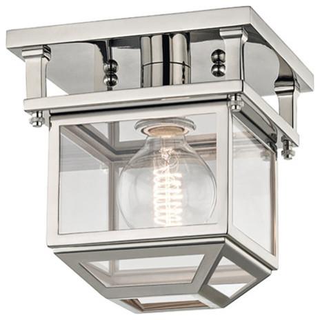 "Hudson Valley 5608-PN Rurford Semi Flush, 8"", Polished Nickel, Metal/Glass"