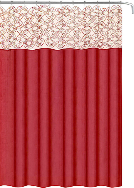 decorative red fabric shower curtain scroll embroidered sheer panel