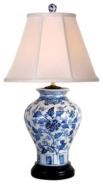 "Chinese Blue And White Porcelain Vase Floral Motif Table Lamp 26""."
