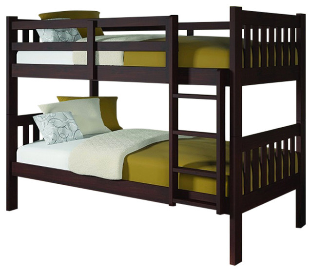 Donco Kids Varleigh Bunk Bed, Dark Cappuccino, Twin.