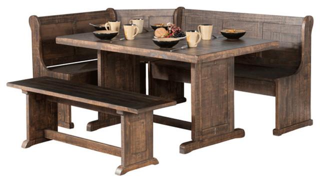 Corner Breakfast Nook Set W Side Bench Rustic Dining Sets