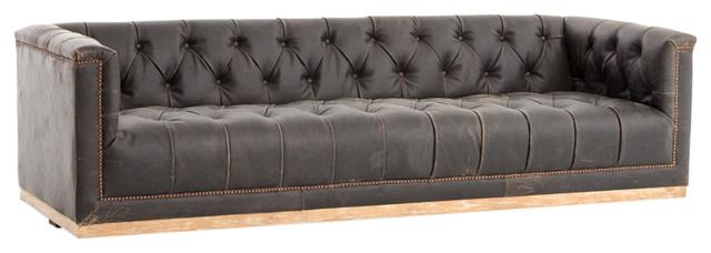 "95"" Amapola Sofa Top Grain Leather Parawood Iron Destroyed Black Whitewash."