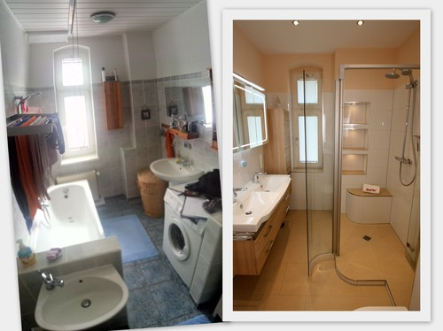 Badezimmer vorher nachher von grauer maus zur struktur und farbe