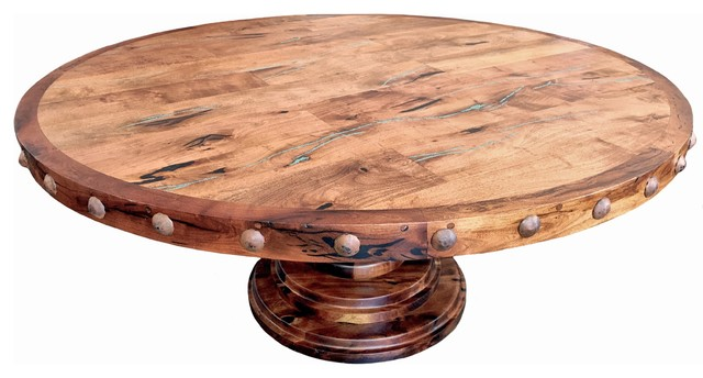 Round Mesquite Wood Dining Table With Turquoise Inlay