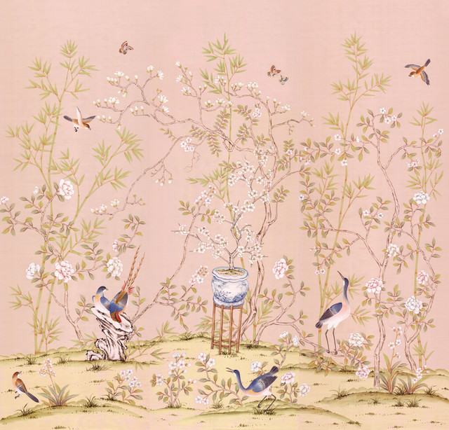 Chinoiserie Wall Mural Chai Wan Triptych, Rose, Large. -1