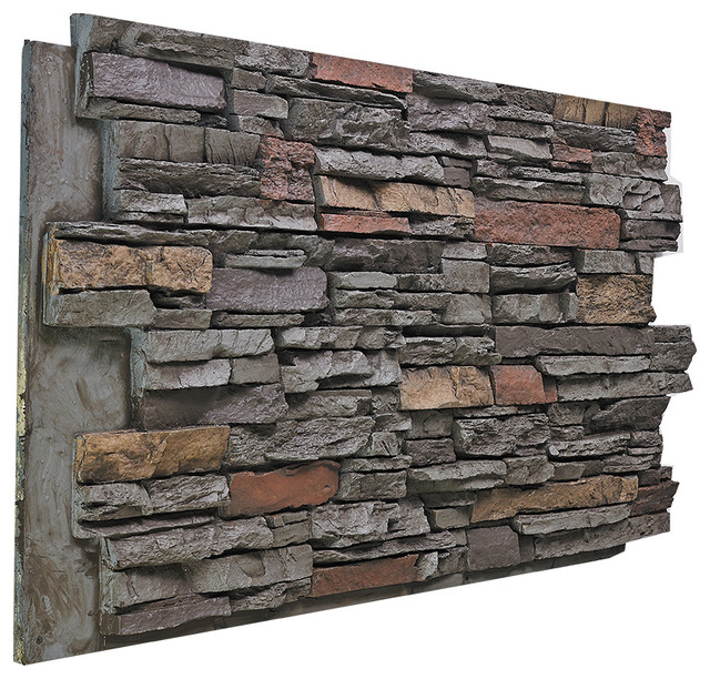 Deep Stacked Stone Wall Panel, Mountain Sky.