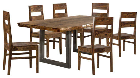 Sensational Hillsdale Emerson 7 Piece Dining Set In Natural Sheesham Pdpeps Interior Chair Design Pdpepsorg