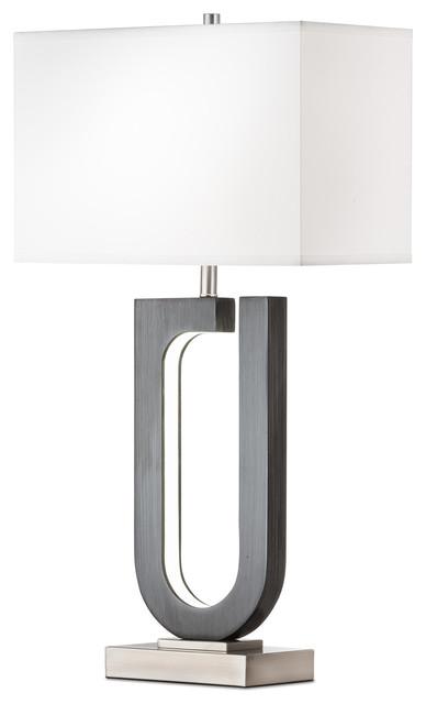 Horseshoe Table Lamp, Charcoal Gray.