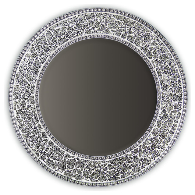 Contemporary Wall Mirror decorative round framedwall mirror glass mosaic, 24