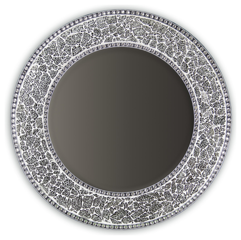Decorative Round Framed Wall Mirror Glass Mosaic 24 Contemporary Wall Mirrors By Decorshore