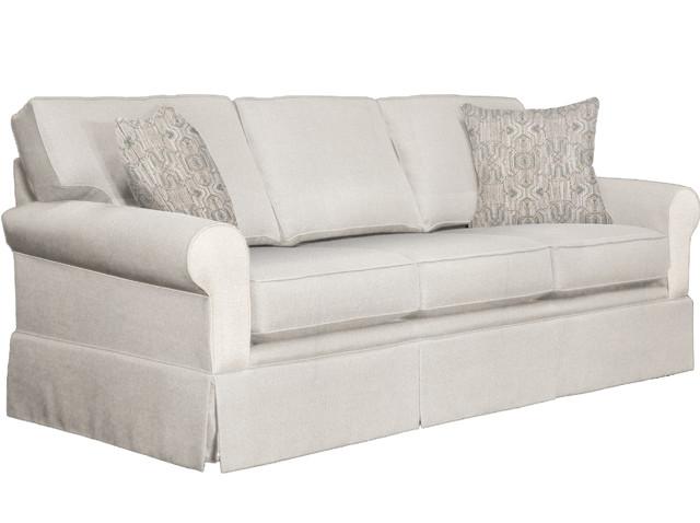 Amalia Skirted Sofa With Throw Pillows Natural
