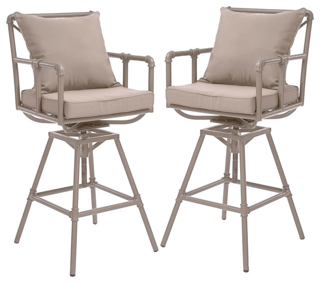 designer fashion deb5a 4d463 GDF Studio Tallahassee Outdoor Adjustable Height Swivel Bar Stools, Set of 2