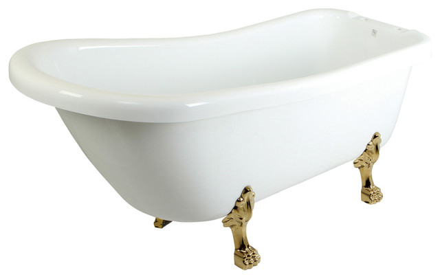 """69"""" Slipper Acrylic Tub With Polished Brass Constantine Lion Feet."""