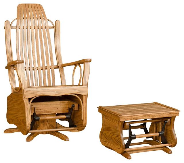 Shop Houzz Furniture Barn USA Bent Oak Swivel Glider Chair With Matching Gl