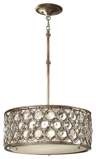 Feiss Lucia 3-Light Shade Pendant In Burnished Silver.