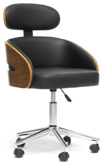 contemporary office chair. baxton studio kneppe black modern office chair - contemporary n