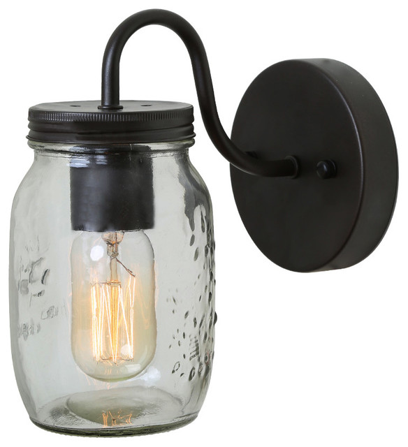 LNC - Clear Glass Mason Jar Indoor Wall Lamp & Reviews | Houzz