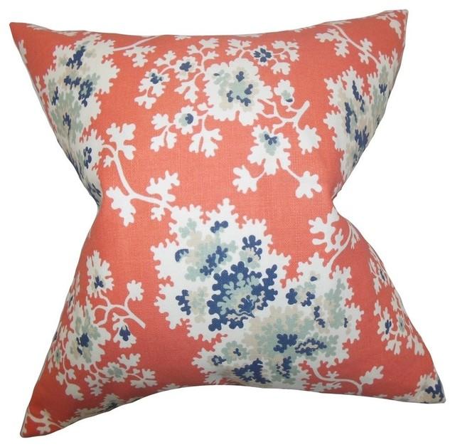 """Danique Floral Pillow Coral 20""""x20""""."""