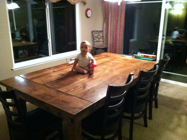 7ft Farmhouse Dining Table W Endcaps