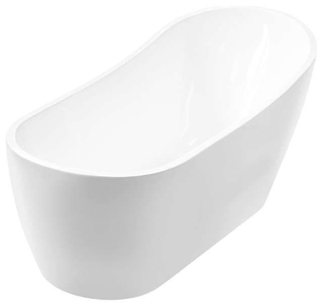 Freestanding One-Piece Acrylic Bathtub.