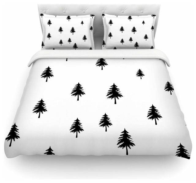 Suzanne Carter Pine Tree Black White Duvet Cover Cotton Queen
