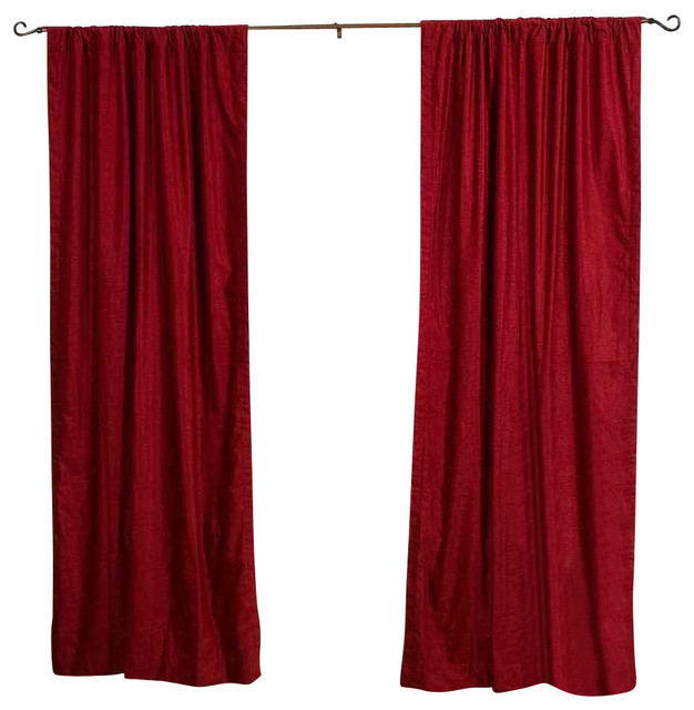 Lined-Burgundy Rod Pocket Velvet Curtain Drape Panel, 43x108l, Piece.