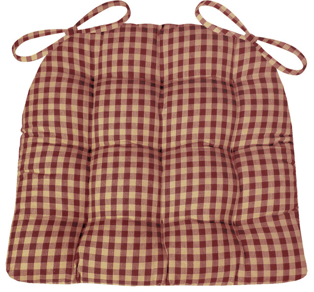 Checkers Red and Tan Checked Chair Pad With Latex Foam  : contemporary seat cushions from www.houzz.com size 640 x 596 jpeg 157kB