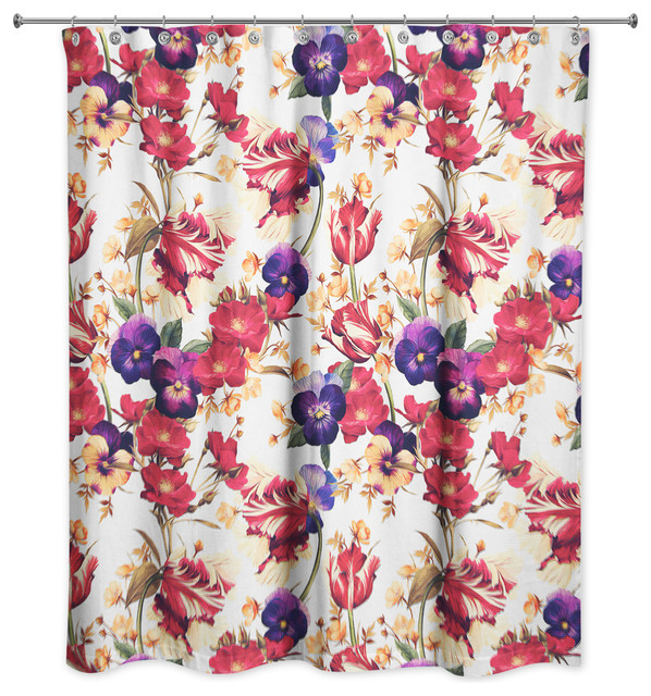 Floral Pansy Print Shower Curtain