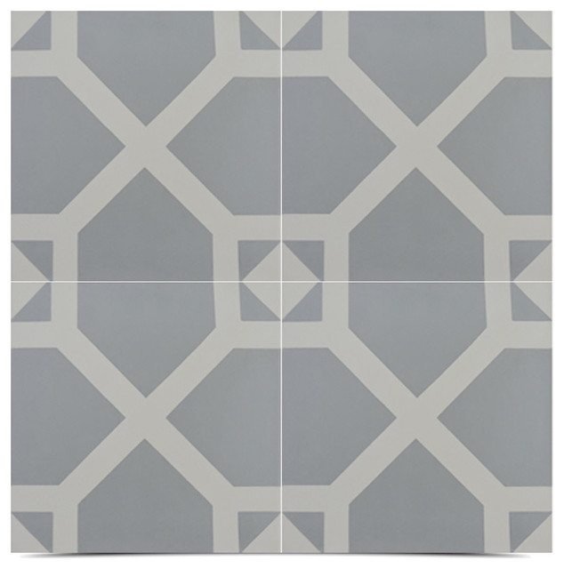 "8""x8"" Mogador Handmade Cement Tile, Gray And White, Set Of 12."