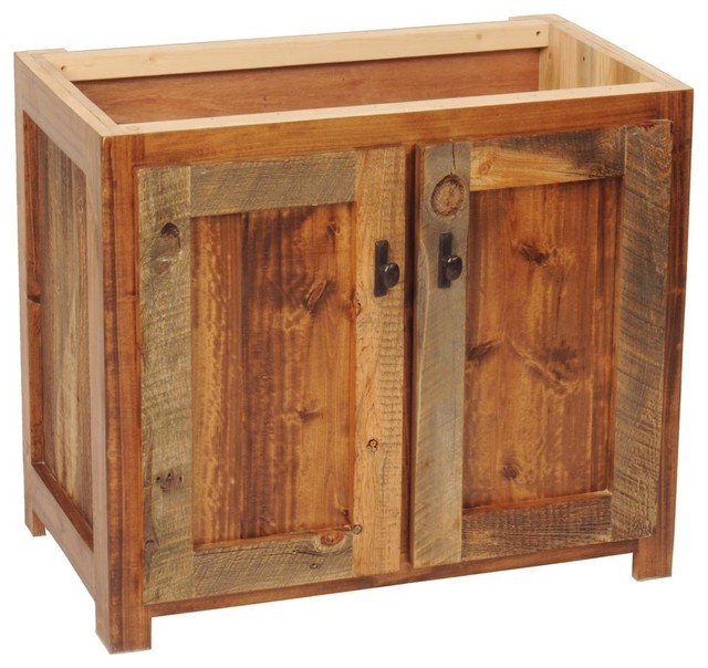 "rustic wood bathroom vanity base, 30""w - rustic - bathroom"