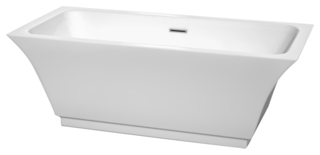"Galina 67"" Freestanding White Bathtub With Polished Chrome Drain, Overflow Trim."
