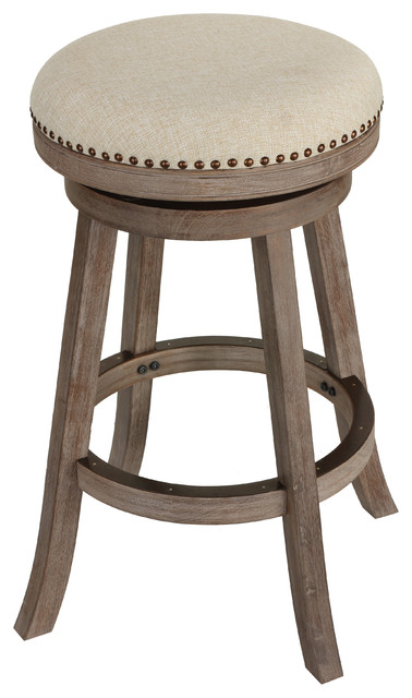 Cortesi Home Piper Backless Swivel Bar Stool, Solid Wood