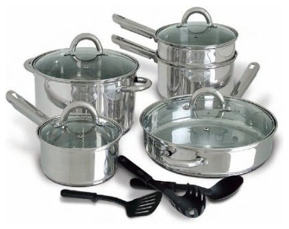 12 piece stainless steel cookware set with tempered glass for Abruzzo 12 piece cookware set from cuisine select