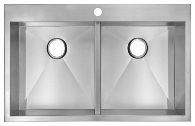 33 X22 Zero Radius 50 Double Bowl Stainless Steel Drop In Kitchen