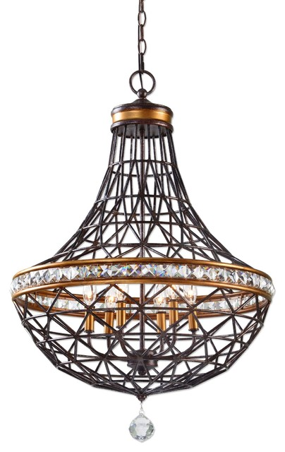 Bronze 6 Light Metal Basket Chandelier Crystal Accents Copper Br Traditional Chandeliers By My Sy Home