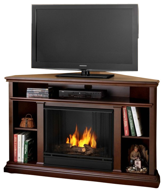 Churchill Real Flame Gel Corner Fireplace Dark Espresso