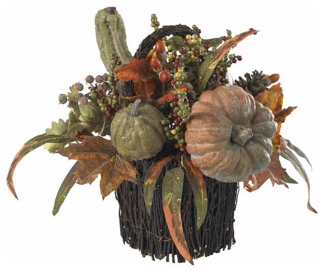 Nearly Natural Fall Pumpkin And Berry Table Arrangement.