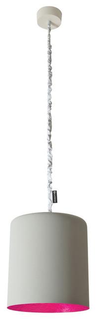 Cilindro Pendant Light, Magenta Lining, Grey