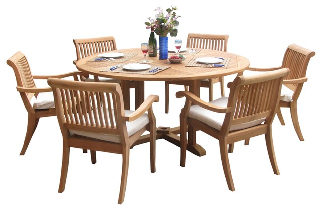 7-Piece Outdoor Teak Dining Set - 60 Round Table + 6 Arbor Stacking Arm Chairs.