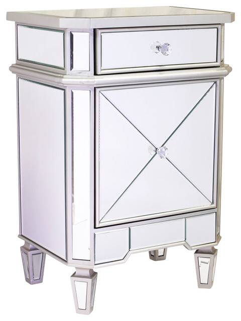 Design Tree Home Mirrored Beside Cabinet transitional-nightstands-and ...