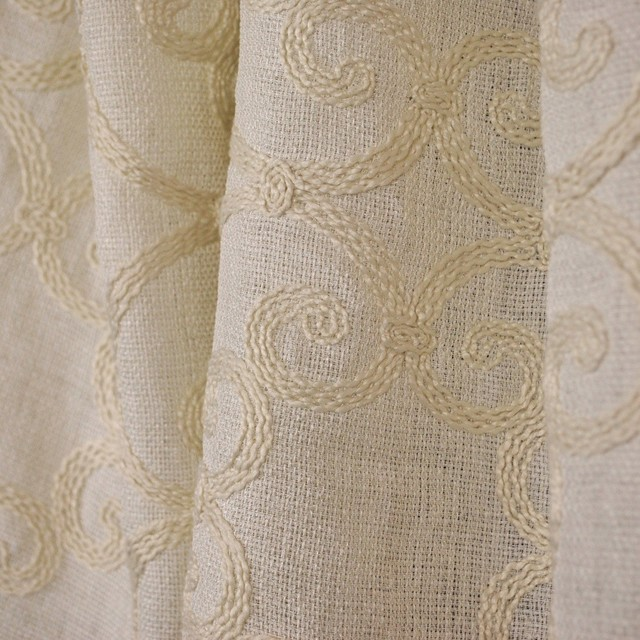 Leiden Natural Embroided Semi Sheer Crewel Fabric - Traditional ...